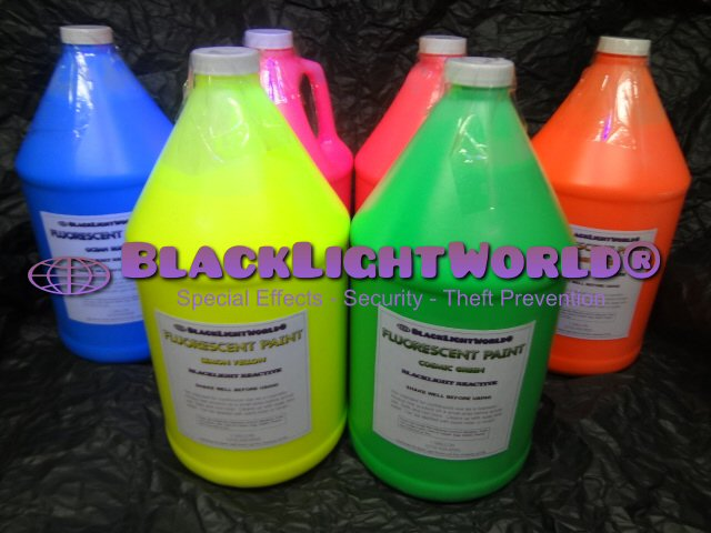 Black light fluorescent paint by black light world amazing fluorescent paint bright colors under black light under normal light the colors look as they appear in this picture but under uv light the effect mozeypictures Gallery